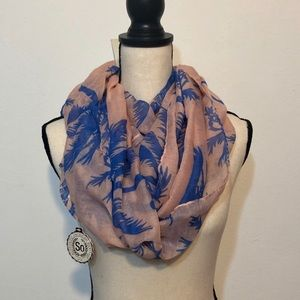 Infinity scarf tropical palm print NWT
